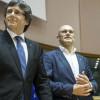 Puigdemont y Romeva, durante un acto independentista en Bruselas