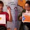 Niños catalanes con mapas independentistas en la escuela.