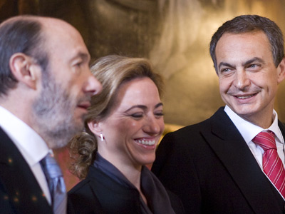 Rubalcaba, Chacón y Zapatero (PSOE)