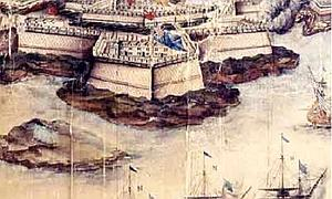 Ataque de la flota francesa al fuerte de San Felipe.