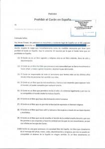 Petición de Imram Firasat para que el Corán sea prohibido en España.