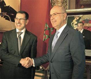 Duran y el ministro de Exteriores marroquí, Saad Eddine Othmani.