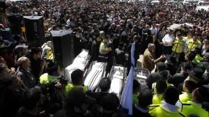 Entierro de los tres niños y el profesor de una escuela judía abatidos a tiros por el islamista Mohamed Merah.