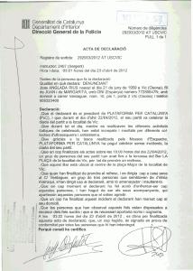Copia de la denuncia presentada por Josep Anglada contra sus agresores.