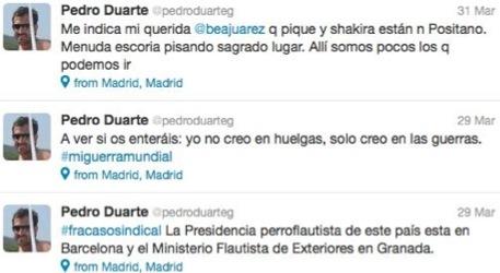 Algunos de los comentarios en el twitter de Pedro Duarte
