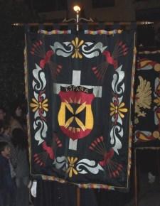 El estandarte de la procesión de la Virgen de las Angustias.
