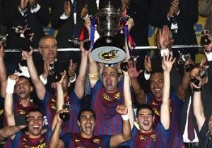 El capitán Javi Rodríguez levanta la Copa del Rey