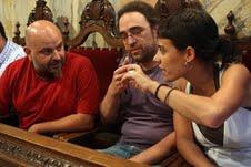 De izquierda a derecha, los concejales de la CUP en el Ayuntamiento de Berga; Francesc Ribera, Oriol Camps y Anna Maria Guijarro.