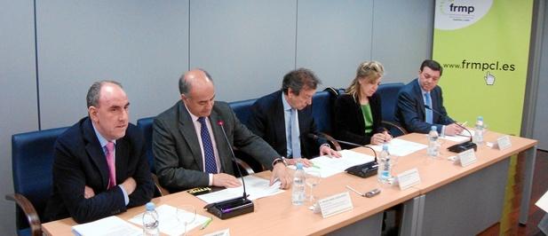 José María Hernández, García Nieto, De Santiago-Juárez, María José Salgueiro y González Gago, durante la reunión de ayer