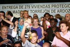 La 'marquesita', durante el acto de entrega de 279 viviendas protegidas en Torrejón de Ardoz.
