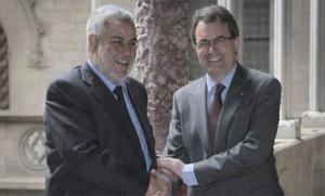 El presidente de Marruecos, este domingo durante su encuentro con Mas