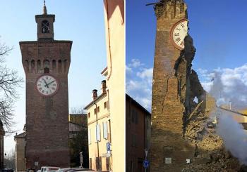 La torre del reloj de Finale Emilia se ha derrumbado a consecuencia del terremoto
