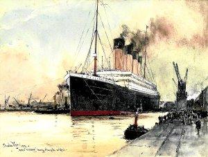 Pintura de Charles Edward Dixon con el 'Titanic' zarpando del puerto de Southampton.
