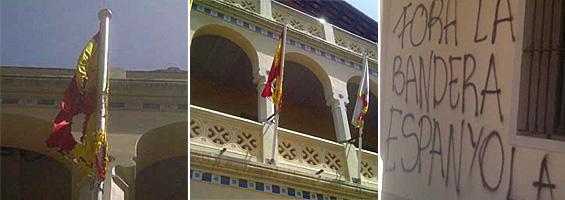 Unos desconocidos queman la bandera de España del Ayuntamiento de Begas (Barcelona) y pintan proclamas contra la enseña nacional en la fachada