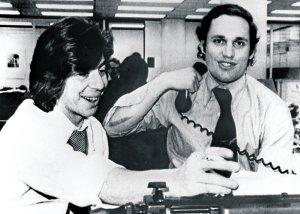 Bernstein y Woodward, en el instante que supieron que habían ganado el Pulitzer de 1973.