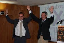 Josep Anglada (d) y Robert Hernando (i), en un acto de PxC.