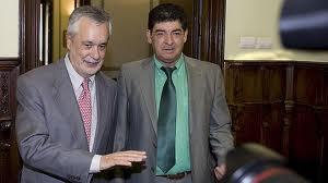 Diego Valderas (d), líder de IU en Andalucía, junto a José Antonio Griñán.