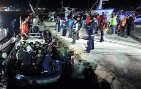 Ilegales en Lampedusa.