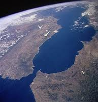 El Estrecho de Gibraltar, visto desde el espacio.