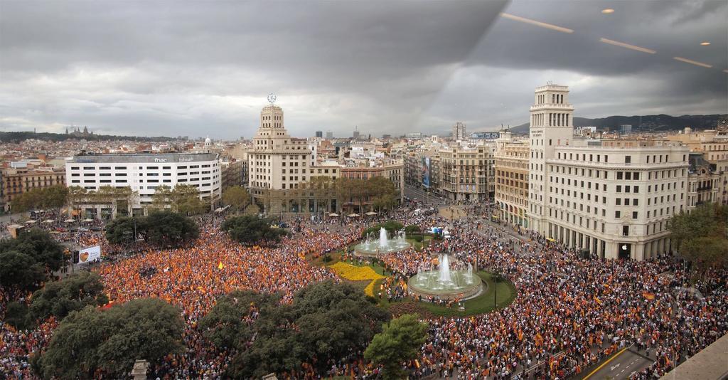 Panorámica de la plaza de Cataluña, el pasado viernes.