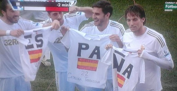 Ramis, Pablo, Rangel y Michu celebrando el gol | Captura Canal +