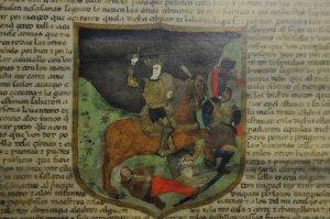 En el escudo aparece un escudero muerto y un moro herido.