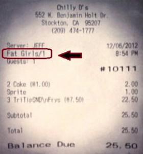 """Imagen del polémica cuenta de la cena en el que aparece """"Fat girls"""""""