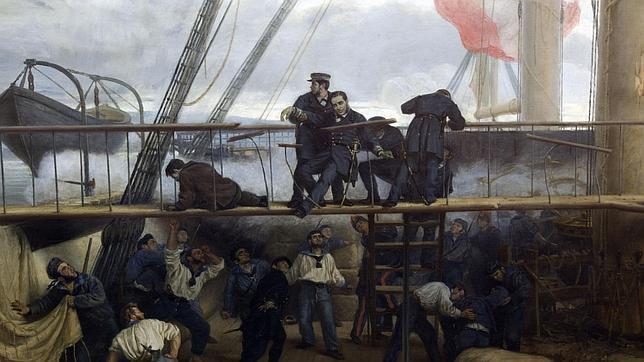 Méndez Núñez cae herido en el puente de la «Numancia», durante el combate de El Callao (A. Muñoz Degrain)