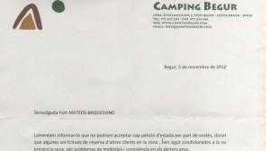 Carta del director del camping.