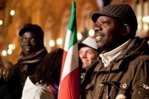 Manifestación de extranjeros por la ciudadanía italiana.