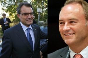 Artur Mas (i) y Alberto Fabra, presidentes de Cataluña y Valencia, respectivamente.
