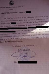 Documento de la Fiscalía.