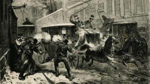 Grabado del Atentado contra el general Prim, 27-12- 1870, en la madrileña calle del Turco (hoy Marqués de Cubas)