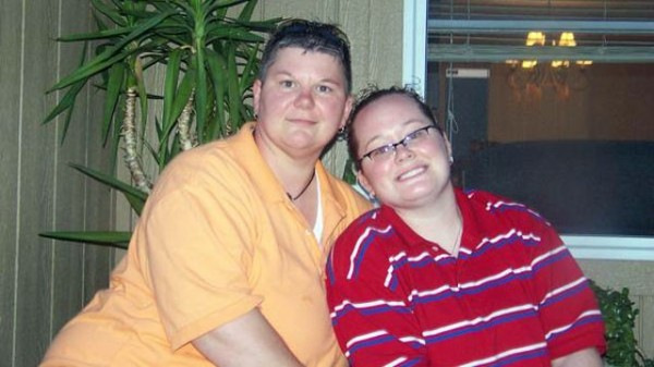 La pareja de lesbianas.