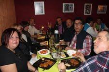 Robles junto a algunos de los empresarios asistentes al almurrzo-homenaje en Cal Purgat. En primer término, el anfitrión Ramón Ramos.