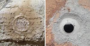 Combinación de imágenes de una roca captadas por el Curiosity.
