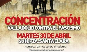 """Cartel de la concentración convovada en Valladolid """"contra el fascismo"""""""