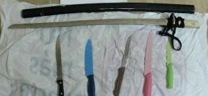 La catana y los cinco cuchillos incautados al detenido.