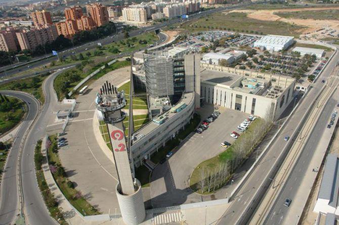 Vista aérea de los estudios de Canal 9 en Valencia.