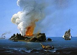 Recreación de la isla de Ferdinandea.