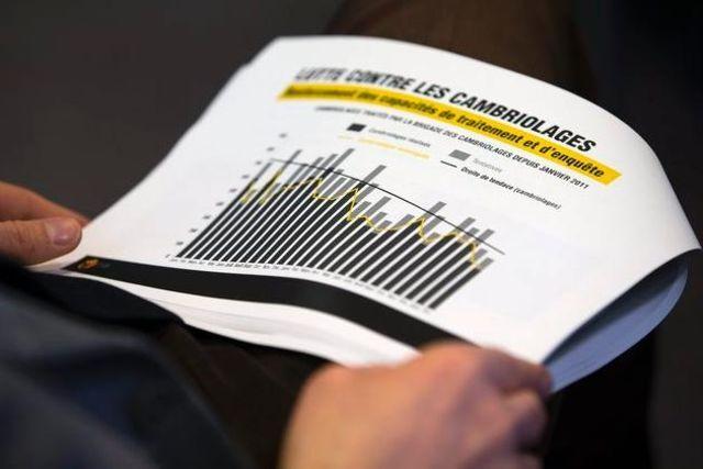 Un hombre lee un gráfico sobre el número de robos en Ginebra