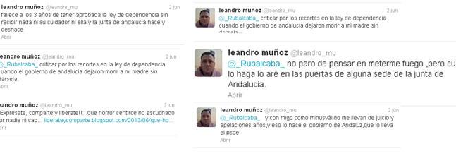 Algunos de los tuits publicados por Leandro Muñoz en su cuenta de Twitter.