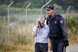 El conductor del tren, Francisco José Garzón Amo, instantes después del accidente, el miércoles en Santiago.