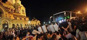 Los manifestantes frente al Parlamento, en Sofía.