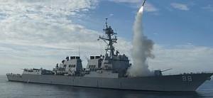 Lanzamiento de un misil Tomahawk durante la intervención en Libia.
