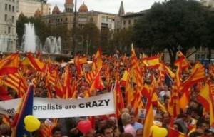 Imagen de la multitudinaria concentración del pasado 12 de octubre en la plaza de Cataluña en favor de la unidad de España.