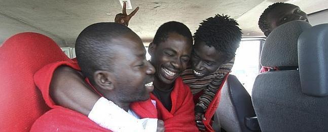Cuatro de los inmigrantes llegados este fin de semana a las costas gaditanas.