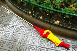 La bandera depositada por el PEC a los pies de la estatua de Casanova fue arrancada y tirada al suelo por un representante de las Enridades Deportivas de Cataluña.