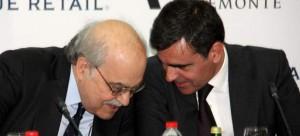 El consejero de Economía, Andreu Mas-Colell, charla con el consejero delergado de Veremonte y presidente de BCN World, Xavier Adserà.