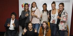 Algunos de los deportistas que viajaron a Buenos Aires para apoyar a Madrid 2020.